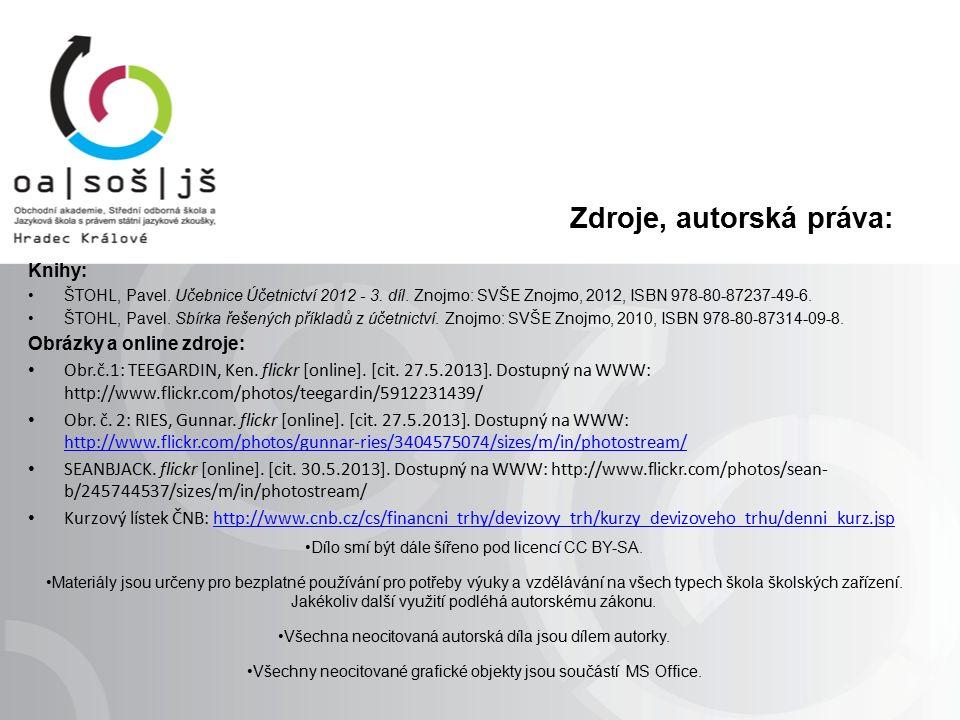 Zdroje, autorská práva: Knihy: ŠTOHL, Pavel. Učebnice Účetnictví 2012 - 3.