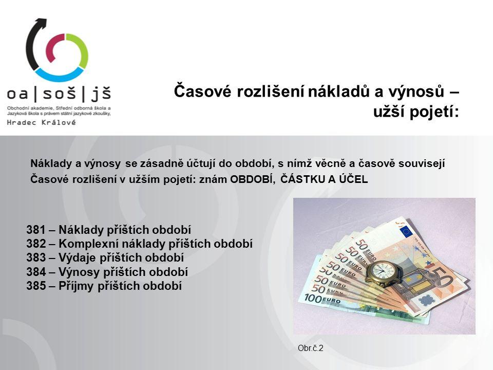 Časové rozlišení nákladů a výnosů – dohadné položky: Náklady a výnosy se zásadně účtují do období,s nímž věcně a časově souvisejí Časové rozlišení v širším pojetí: znám OBDOBÍ A ÚČEL, ČÁSTKA je zpravidla nejistá 388 – Dohadné účty aktivní 389 – Dohadné účty pasivní Příklady: odhad spotřeby el.
