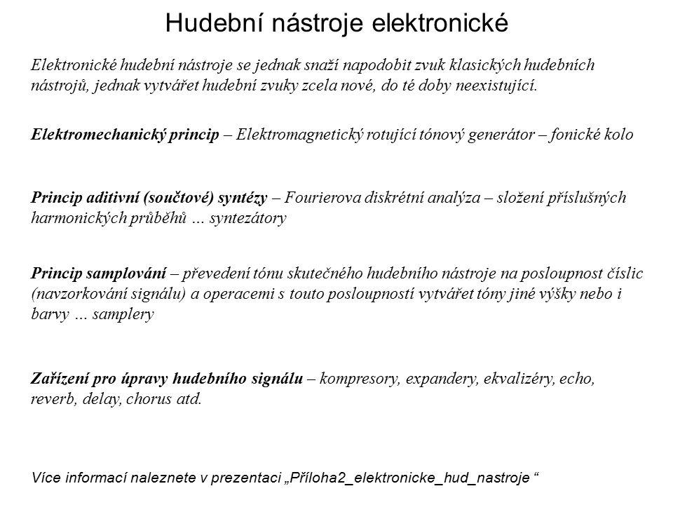 Hudební nástroje elektronické Elektronické hudební nástroje se jednak snaží napodobit zvuk klasických hudebních nástrojů, jednak vytvářet hudební zvuky zcela nové, do té doby neexistující.