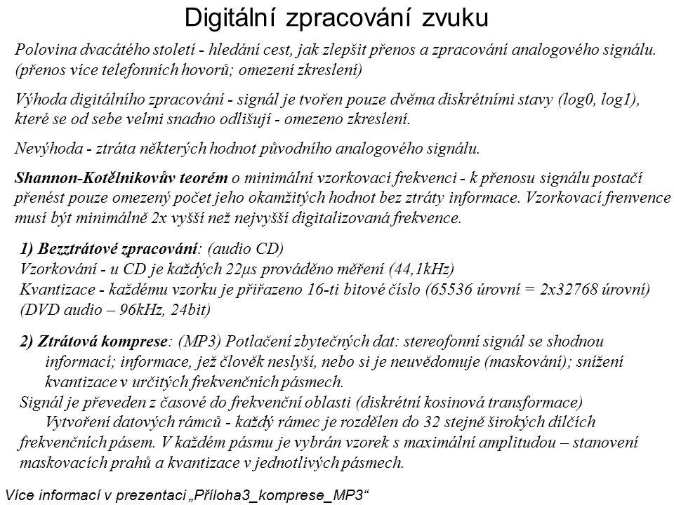 Digitální zpracování zvuku Polovina dvacátého století - hledání cest, jak zlepšit přenos a zpracování analogového signálu. (přenos více telefonních ho