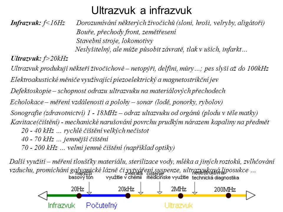 Ultrazvuk a infrazvuk Infrazvuk: f<16Hz Ultrazvuk: f>20kHz Ultrazvuk produkují někteří živočichové – netopýři, delfíni, můry…; pes slyší až do 100kHz Elektroakustické měniče využívající piezoelektrický a magnetostrikční jev Defektoskopie – schopnost odrazu ultrazvuku na materiálových přechodech Echolokace – měření vzdálenosti a polohy – sonar (lodě, ponorky, rybolov) Sonografie (zdravotnictví) 1 - 18MHz – odraz ultazvuku od orgánů (plodu v těle matky) Kavitace(čištění) - mechanické narušování povrchu prudkým nárazem kapaliny na předmět 20 - 40 kHz … rychlé čištění velkých nečistot 40 - 70 kHz … jemnější čištění 70 - 200 kHz … velmi jemné čištění (například optiky) Další využití – měření tloušťky materiálu, sterilizace vody, mléka a jiných roztoků, zvlhčování vzduchu, promíchání galvanické lázně či vytváření suspenze, ultrazvuková liposukce … Dorozumívání některých živočichů (sloni, hroši, velryby, aligátoři) Bouře, přechody front, zemětřesení Stavební stroje, lokomotivy Neslyšitelný, ale může působit závratě, tlak v uších, infarkt…