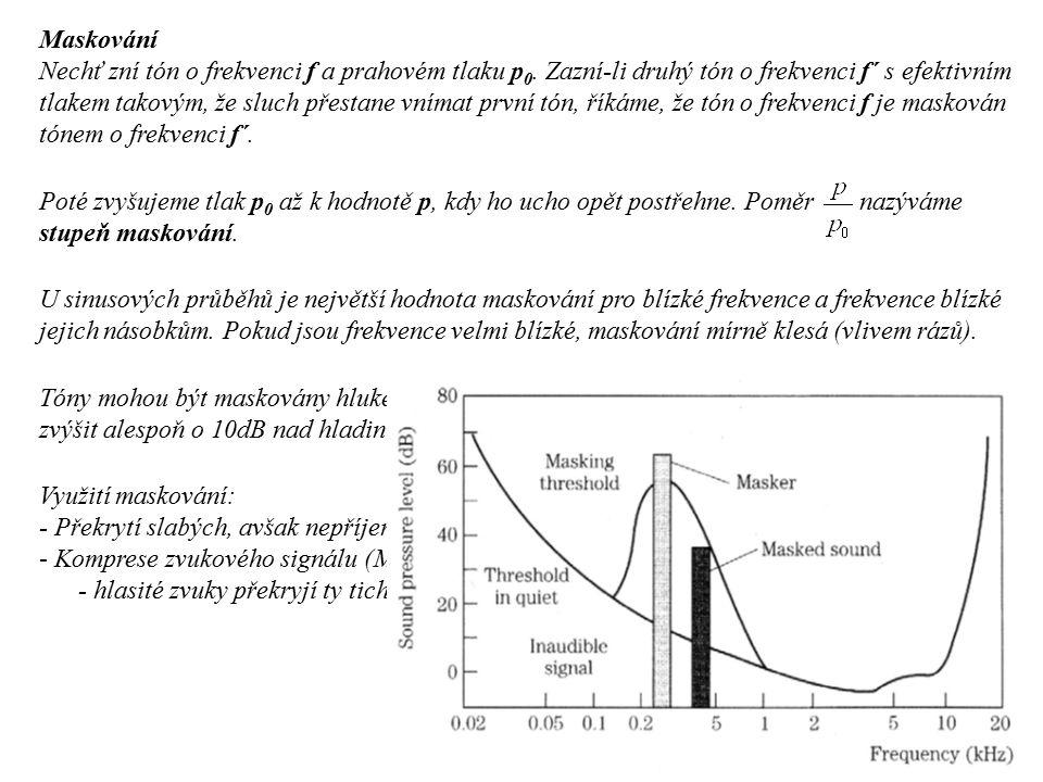 Maskování Nechť zní tón o frekvenci f a prahovém tlaku p 0. Zazní-li druhý tón o frekvenci f´ s efektivním tlakem takovým, že sluch přestane vnímat pr