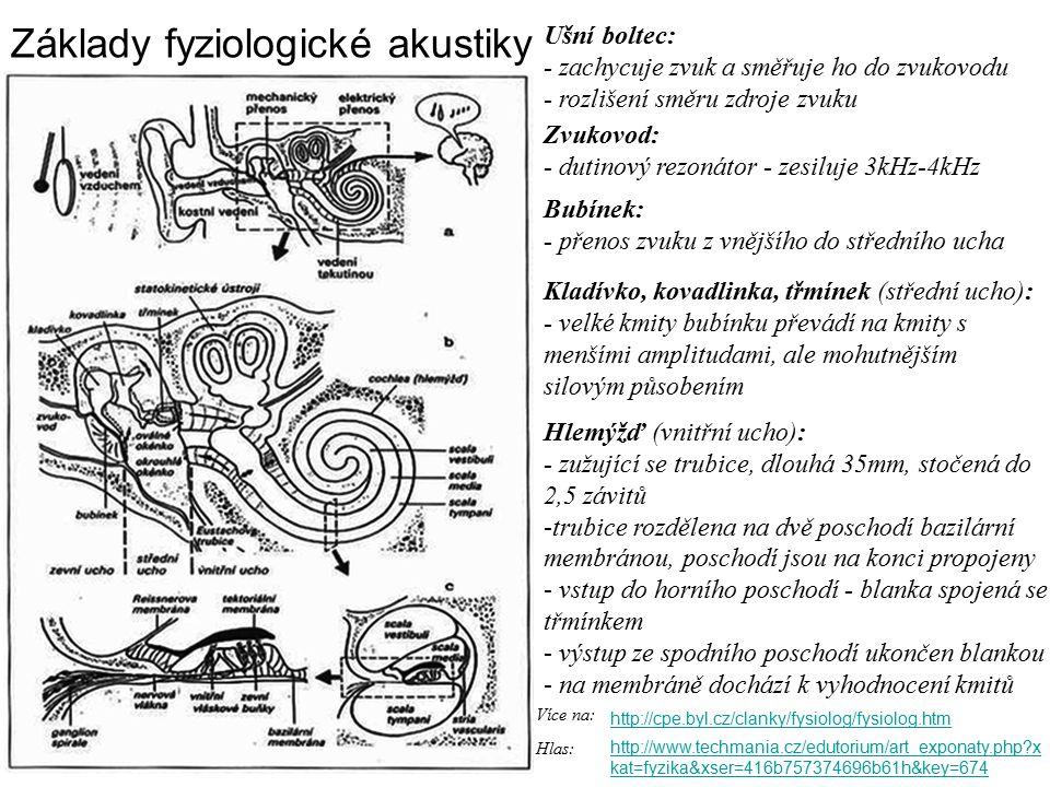 Základy fyziologické akustiky http://cpe.byl.cz/clanky/fysiolog/fysiolog.htm Více na: Ušní boltec: - zachycuje zvuk a směřuje ho do zvukovodu - rozlišení směru zdroje zvuku Zvukovod: - dutinový rezonátor - zesiluje 3kHz-4kHz Bubínek: - přenos zvuku z vnějšího do středního ucha Kladívko, kovadlinka, třmínek (střední ucho): - velké kmity bubínku převádí na kmity s menšími amplitudami, ale mohutnějším silovým působením Hlemýžď (vnitřní ucho): - zužující se trubice, dlouhá 35mm, stočená do 2,5 závitů -trubice rozdělena na dvě poschodí bazilární membránou, poschodí jsou na konci propojeny - vstup do horního poschodí - blanka spojená se třmínkem - výstup ze spodního poschodí ukončen blankou - na membráně dochází k vyhodnocení kmitů http://www.techmania.cz/edutorium/art_exponaty.php x kat=fyzika&xser=416b757374696b61h&key=674 Hlas: