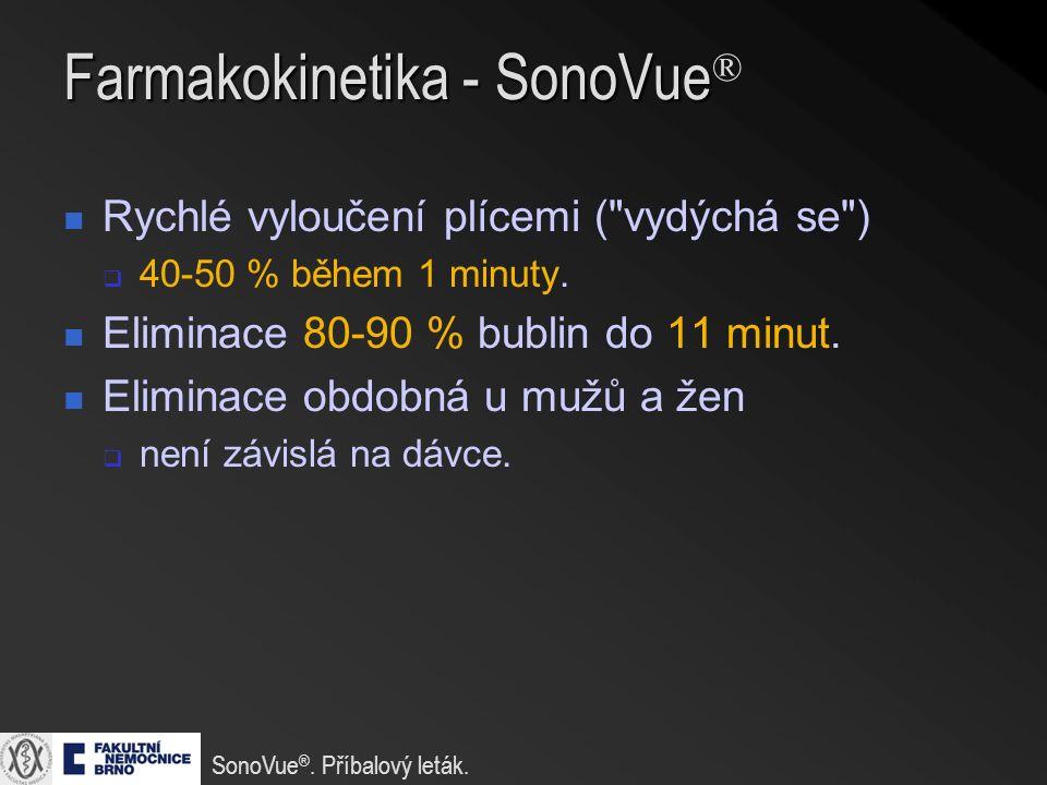 Farmakokinetika - SonoVue Farmakokinetika - SonoVue ® Rychlé vyloučení plícemi ( vydýchá se )  40-50 % během 1 minuty.