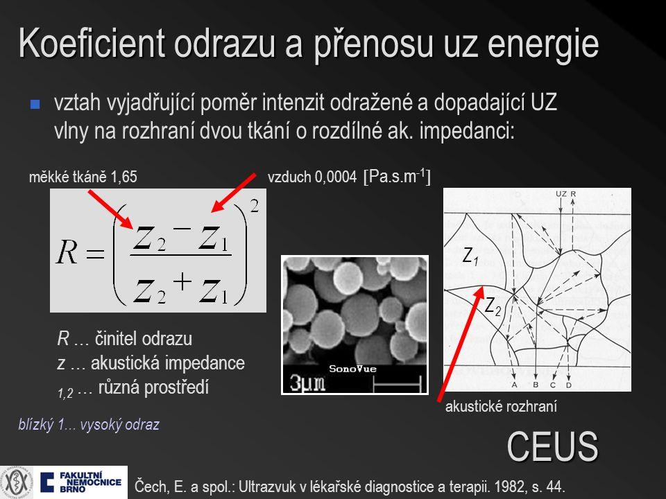 Koeficient odrazu a přenosu uz energie vztah vyjadřující poměr intenzit odražené a dopadající UZ vlny na rozhraní dvou tkání o rozdílné ak.