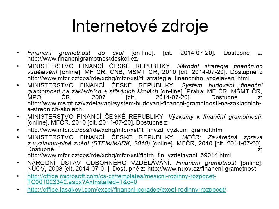 Internetové zdroje Finanční gramotnost do škol [on-line]. [cit. 2014-07-20]. Dostupné z: http://www.financnigramotnostdoskol.cz. MINISTERSTVO FINANCÍ