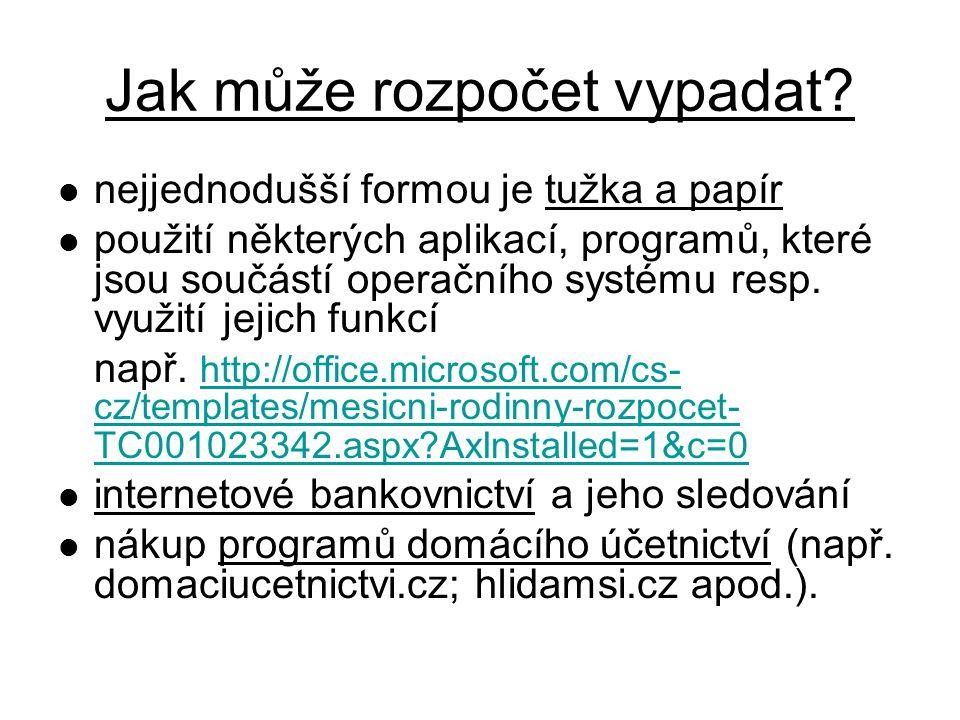 Příklad rozpočtu v Excelu http://office.lasakovi.com/excel/financni- poradce/excel-rodinny-rozpocet/ http://office.lasakovi.com/excel/financni- poradce/excel-rodinny-rozpocet/