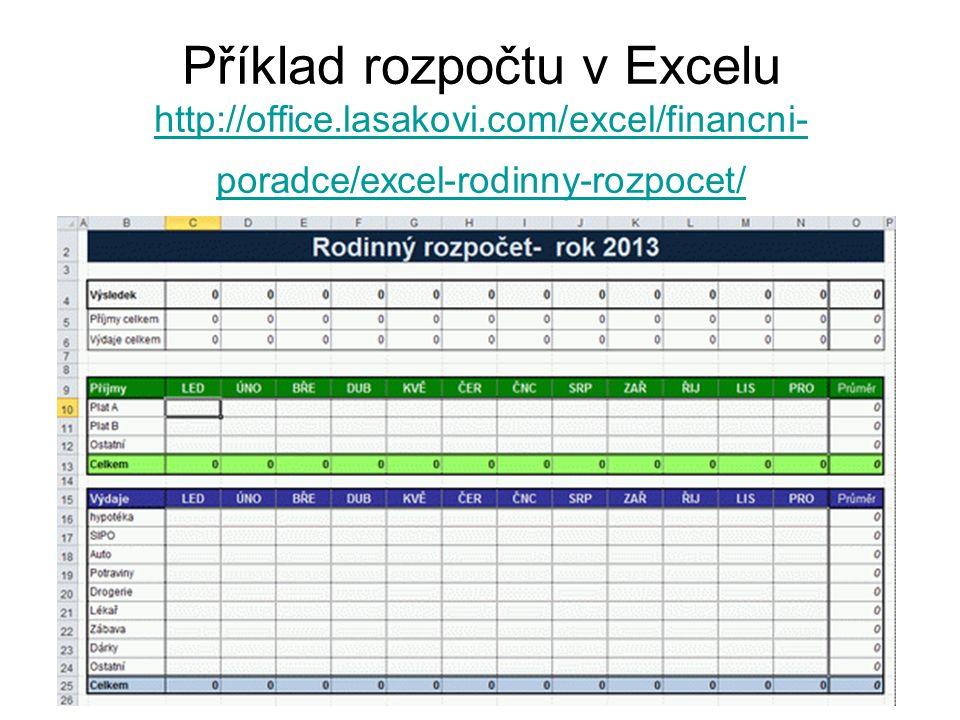 Příklad rozpočtu v Excelu http://office.lasakovi.com/excel/financni- poradce/excel-rodinny-rozpocet/ http://office.lasakovi.com/excel/financni- poradc