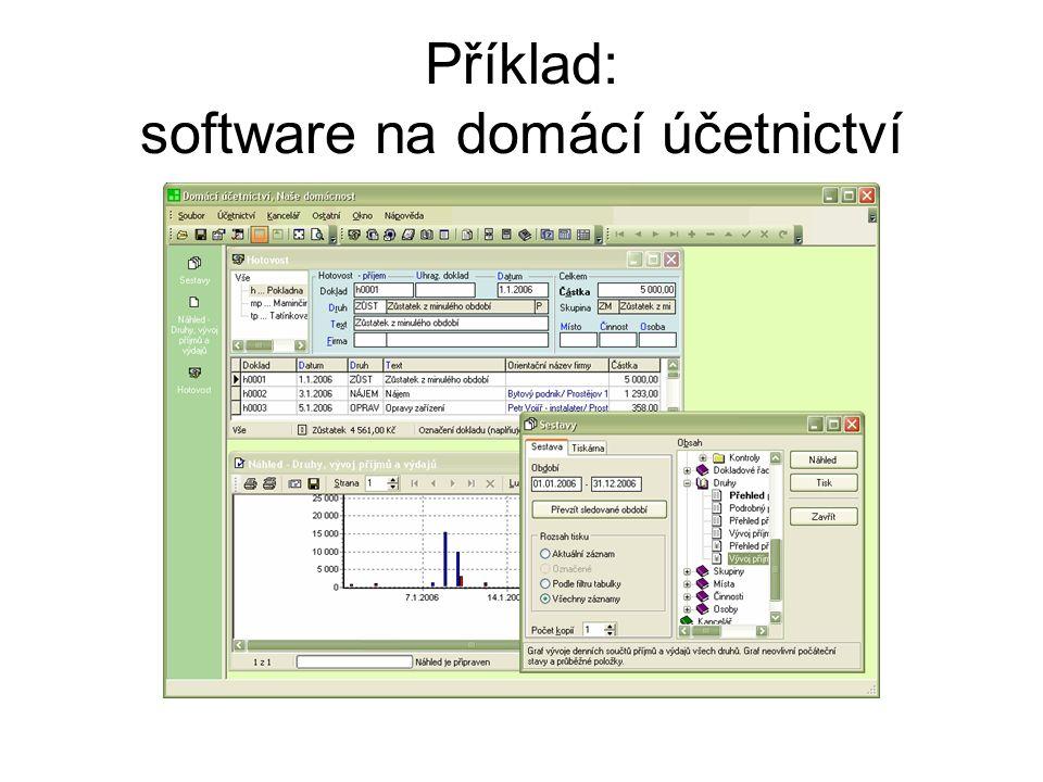 Příklad: software na domácí účetnictví
