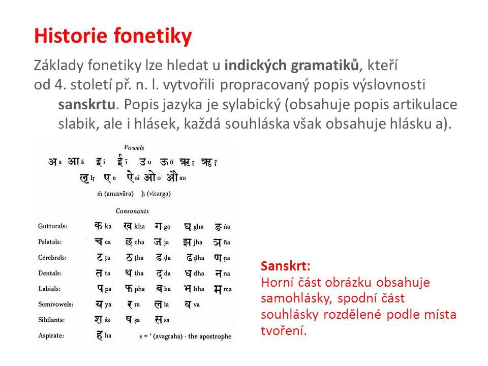 Základy fonetiky lze hledat u indických gramatiků, kteří od 4.