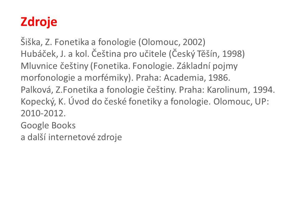 Zdroje Šiška, Z. Fonetika a fonologie (Olomouc, 2002) Hubáček, J.
