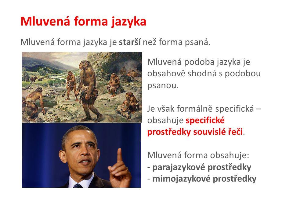 Mluvená forma jazyka Mluvená forma jazyka je starší než forma psaná.