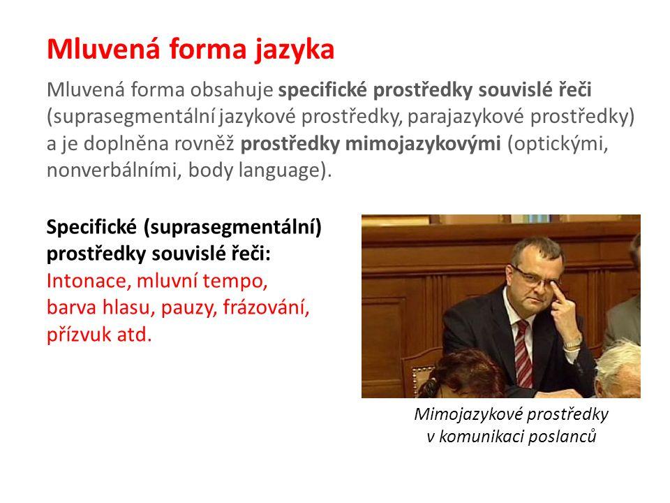 Mluvená forma jazyka Mluvená forma obsahuje specifické prostředky souvislé řeči (suprasegmentální jazykové prostředky, parajazykové prostředky) a je doplněna rovněž prostředky mimojazykovými (optickými, nonverbálními, body language).