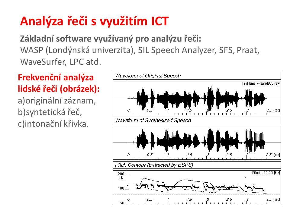 Analýza řeči s využitím ICT Základní software využívaný pro analýzu řeči: WASP (Londýnská univerzita), SIL Speech Analyzer, SFS, Praat, WaveSurfer, LPC atd.