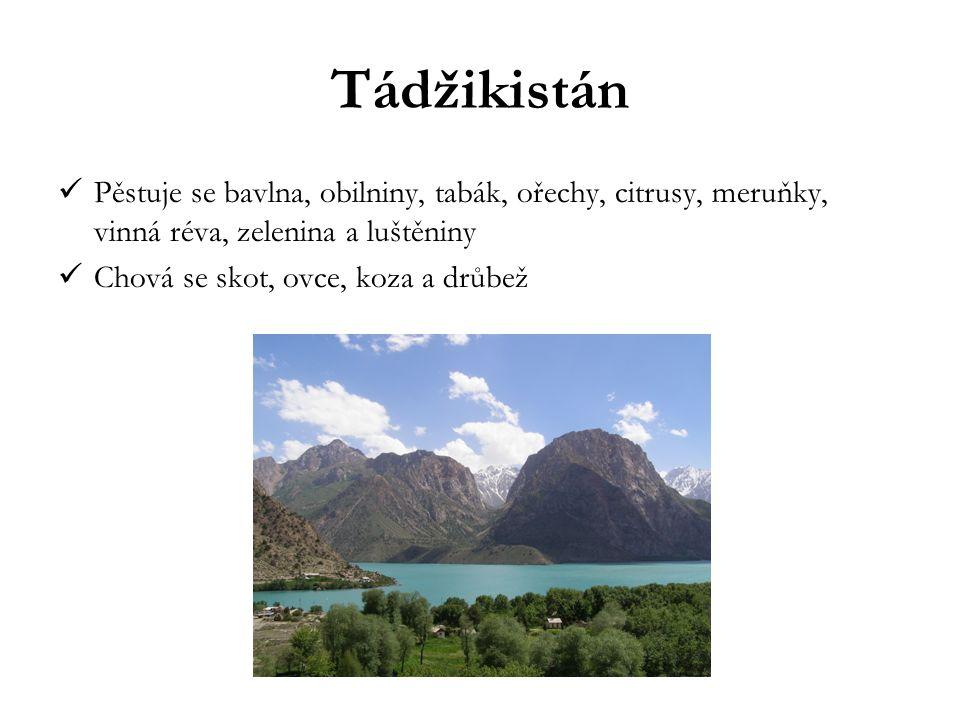 Tádžikistán Pěstuje se bavlna, obilniny, tabák, ořechy, citrusy, meruňky, vinná réva, zelenina a luštěniny Chová se skot, ovce, koza a drůbež