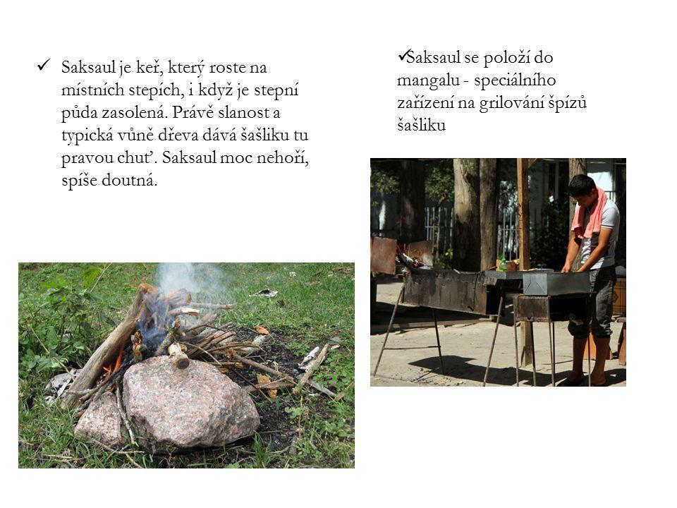 Saksaul je keř, který roste na místních stepích, i když je stepní půda zasolená. Právě slanost a typická vůně dřeva dává šašliku tu pravou chuť. Saksa