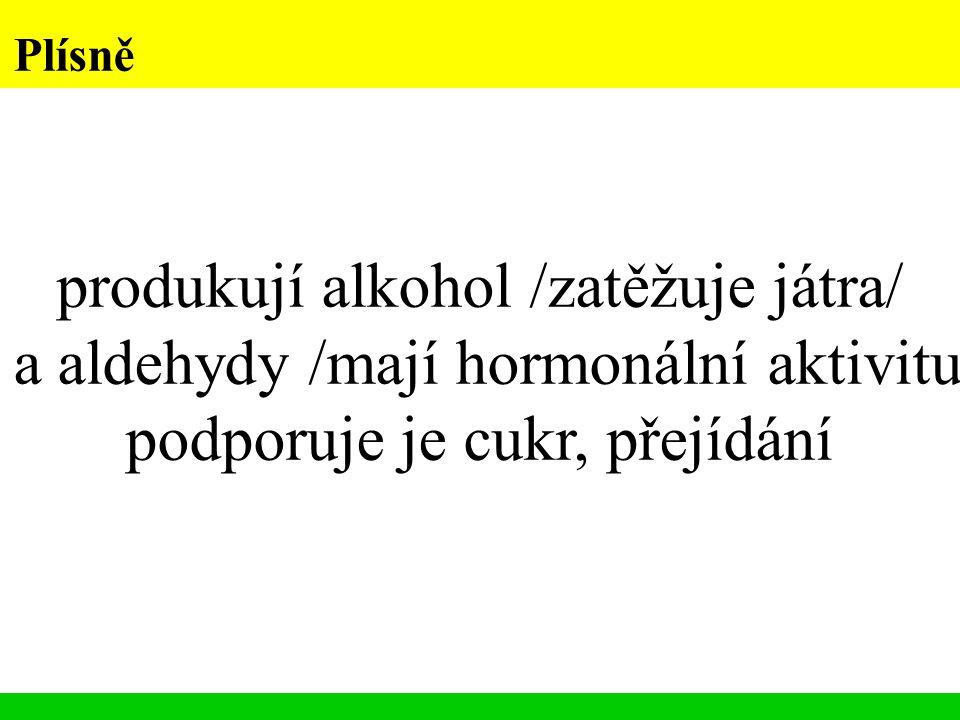 Plísně produkují alkohol /zatěžuje játra/ a aldehydy /mají hormonální aktivitu podporuje je cukr, přejídání