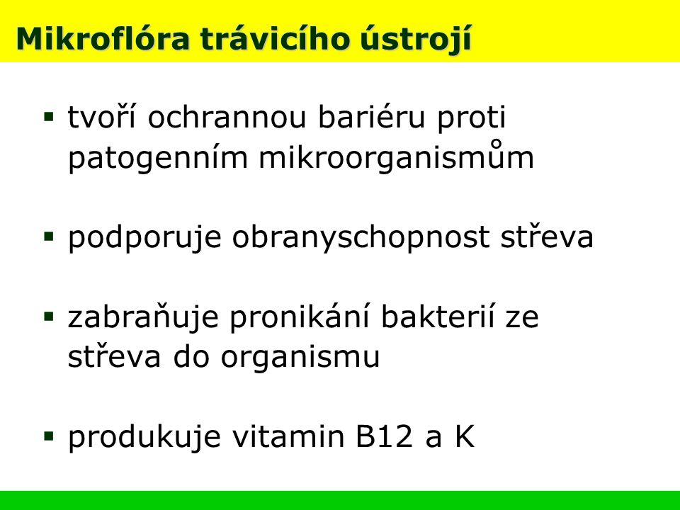 Mikroflóra trávicího ústrojí  tvoří ochrannou bariéru proti patogenním mikroorganismům  podporuje obranyschopnost střeva  zabraňuje pronikání bakterií ze střeva do organismu  produkuje vitamin B12 a K