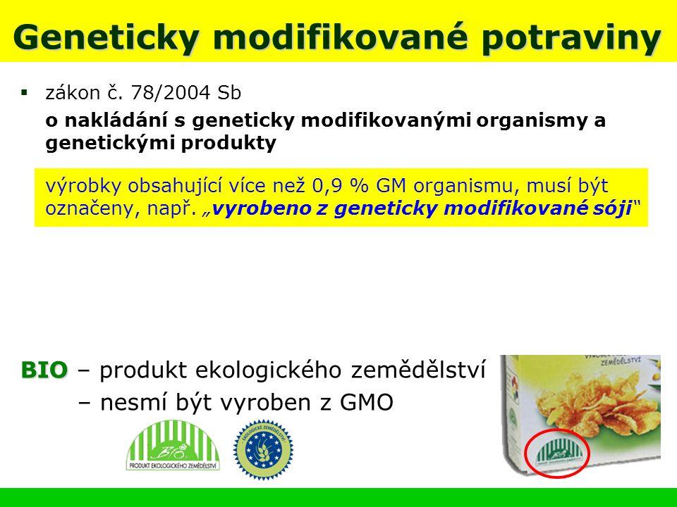 Geneticky modifikované potraviny  zákon č. 78/2004 Sb o nakládání s geneticky modifikovanými organismy a genetickými produkty  výrobky obsahující ví