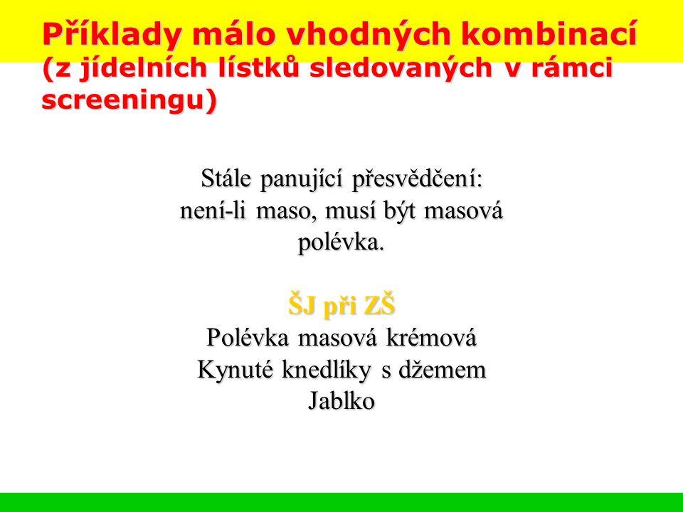Příklady málo vhodných kombinací (z jídelních lístků sledovaných v rámci screeningu) Stále panující přesvědčení: není-li maso, musí být masová polévka