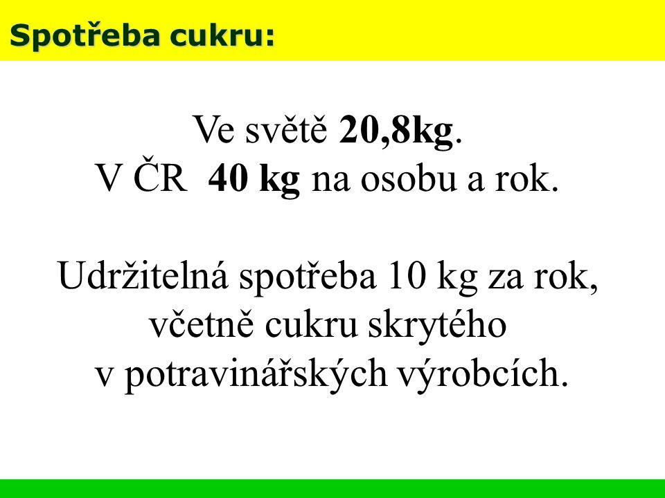 Spotřeba cukru: Ve světě 20,8kg. V ČR 40 kg na osobu a rok. Udržitelná spotřeba 10 kg za rok, včetně cukru skrytého v potravinářských výrobcích.