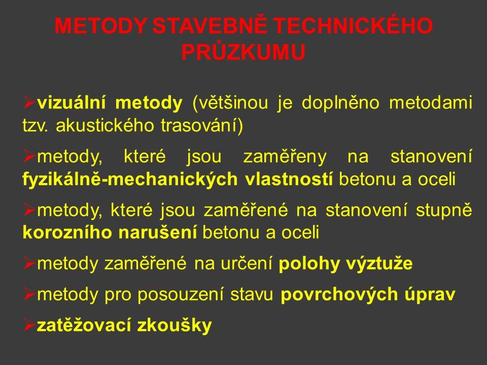 METODY STAVEBNĚ TECHNICKÉHO PRŮZKUMU  vizuální metody (většinou je doplněno metodami tzv.