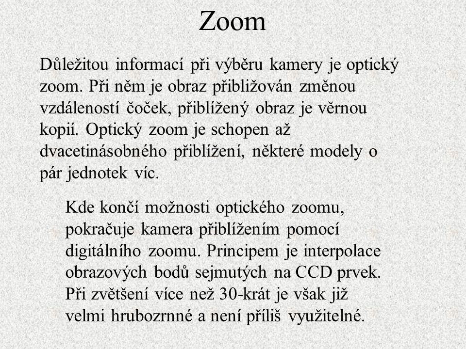 Zoom Důležitou informací při výběru kamery je optický zoom. Při něm je obraz přibližován změnou vzdáleností čoček, přiblížený obraz je věrnou kopií. O