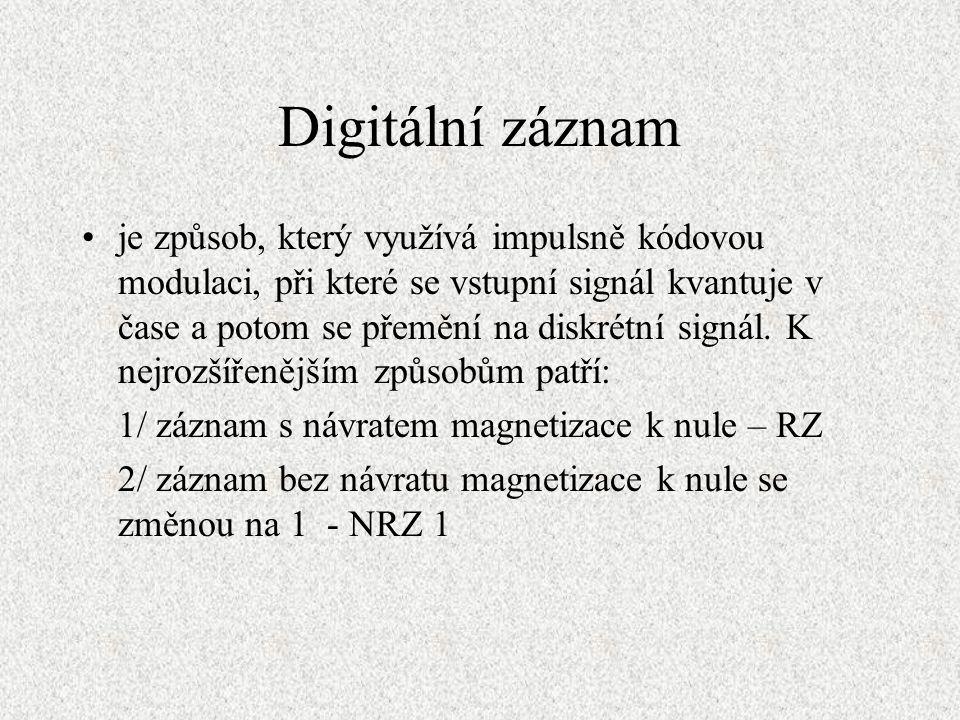 Digitální záznam je způsob, který využívá impulsně kódovou modulaci, při které se vstupní signál kvantuje v čase a potom se přemění na diskrétní signál.