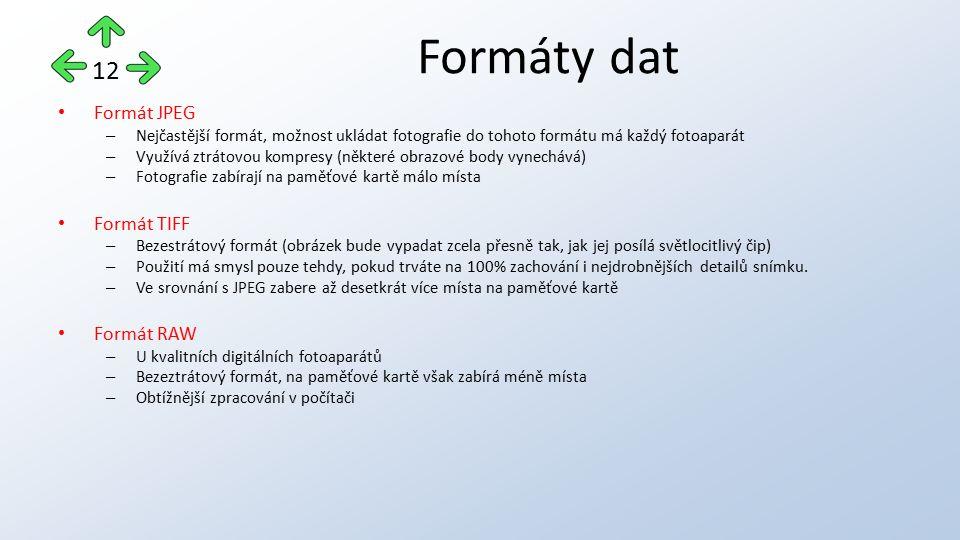 Formát JPEG – Nejčastější formát, možnost ukládat fotografie do tohoto formátu má každý fotoaparát – Využívá ztrátovou kompresy (některé obrazové body
