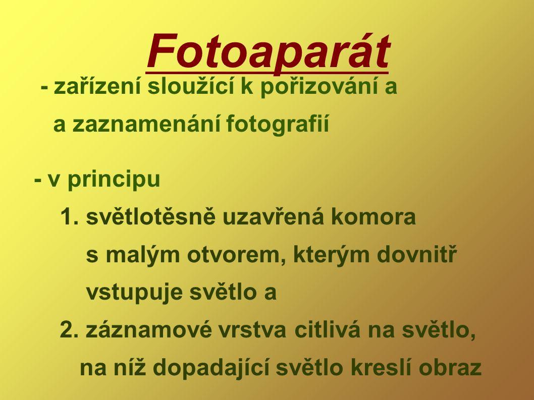 Fotoaparát - zařízení sloužící k pořizování a a zaznamenání fotografií - v principu 1. světlotěsně uzavřená komora s malým otvorem, kterým dovnitř vst