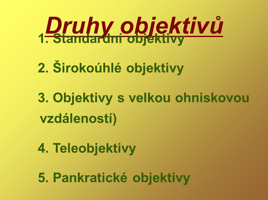 Druhy objektivů 1. Standardní objektivy 2. Širokoúhlé objektivy 3. Objektivy s velkou ohniskovou vzdáleností) 4. Teleobjektivy 5. Pankratické objektiv
