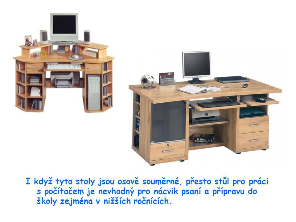 28 I když tyto stoly jsou osově souměrné, přesto stůl pro práci s počítačem je nevhodný pro nácvik psaní a přípravu do školy zejména v nižších ročnících.