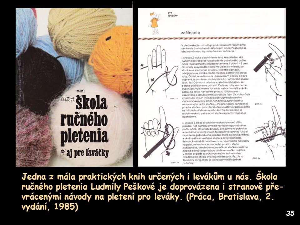 35 Jedna z mála praktických knih určených i levákům u nás. Škola ručného pletenia Ludmily Peškové je doprovázena i stranově pře- vrácenými návody na p