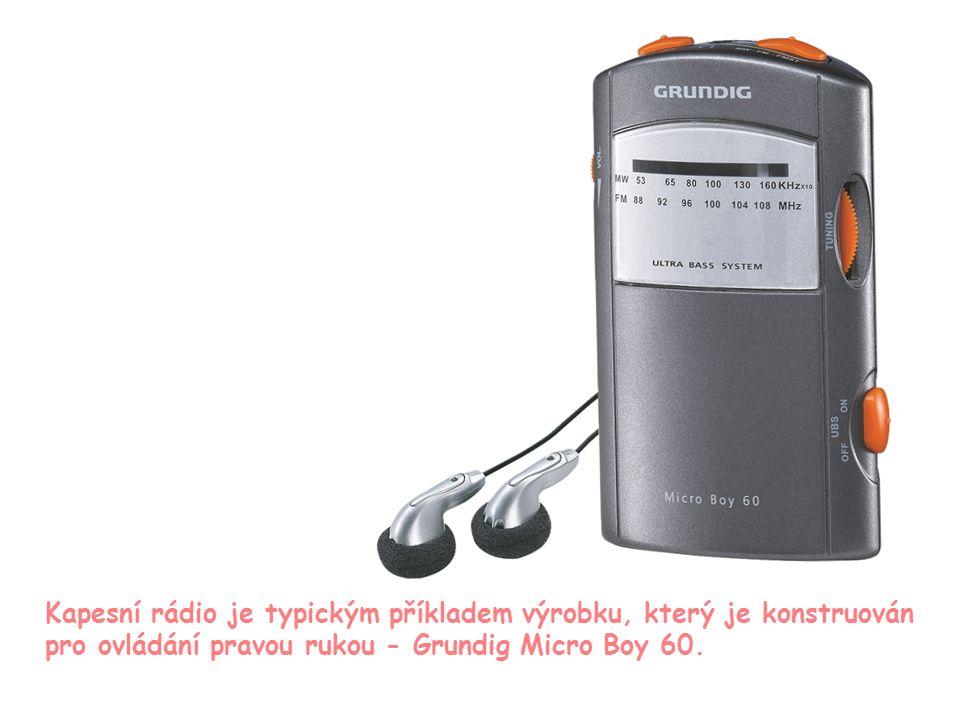 8 Kapesní rádio je typickým příkladem výrobku, který je konstruován pro ovládání pravou rukou - Grundig Micro Boy 60.
