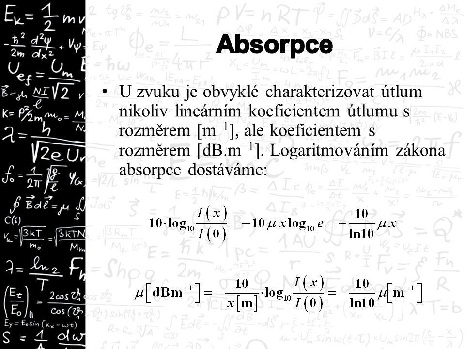 U zvuku je obvyklé charakterizovat útlum nikoliv lineárním koeficientem útlumu s rozměrem [m –1 ], ale koeficientem s rozměrem [dB.m –1 ]. Logaritmová