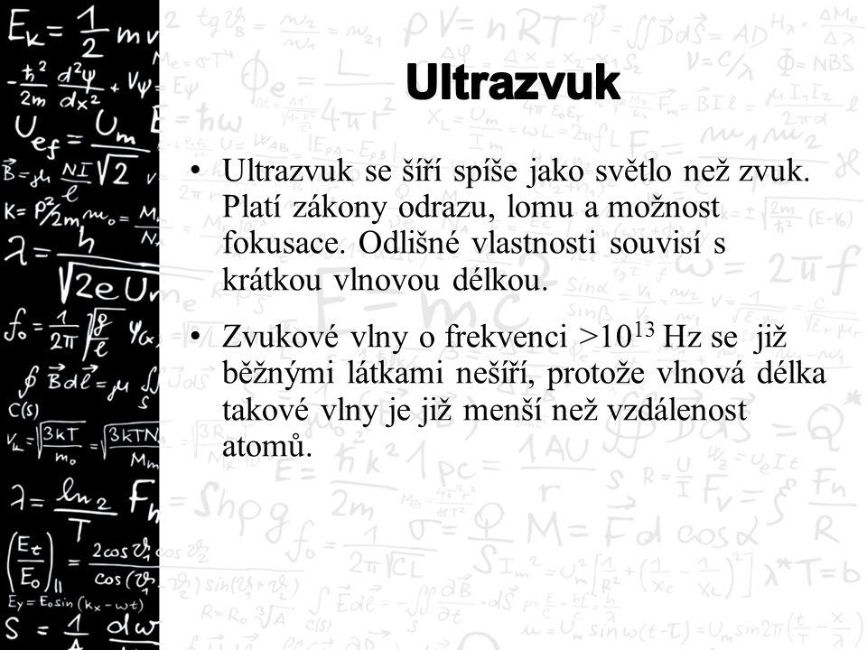 Ultrazvuk se šíří spíše jako světlo než zvuk. Platí zákony odrazu, lomu a možnost fokusace. Odlišné vlastnosti souvisí s krátkou vlnovou délkou. Zvuko