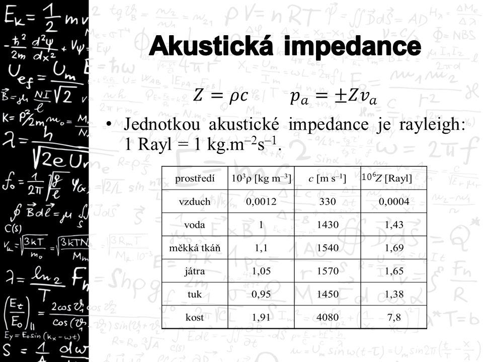 Akustická energie, akustický výkon a akustická intenzita zvukové vlny Akustická impedance Odraz a průchod zvuku rozhraním – koeficienty odrazivosti a propustnosti Hladina akustické intenzity, sluchové pole Absorpce zvuku a ultrazvuku Co je Dopplerův jev, rovnice Dopplerova jevu