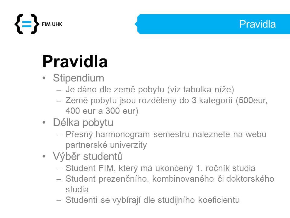 Pravidla Stipendium –Je dáno dle země pobytu (viz tabulka níže) –Země pobytu jsou rozděleny do 3 kategorií (500eur, 400 eur a 300 eur) Délka pobytu –Přesný harmonogram semestru naleznete na webu partnerské univerzity Výběr studentů –Student FIM, který má ukončený 1.