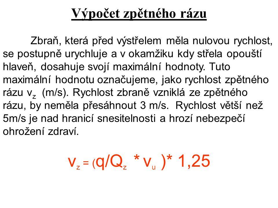 Význam jednotlivých veličin v z = rychlost zpětného rázu (m/s) v ú = ú sťov á rychlost (m/s q = hmotnost střely ( g ) Q z = hmotnost zbraně (g) 1,25 = reaktivní zpětný ráz