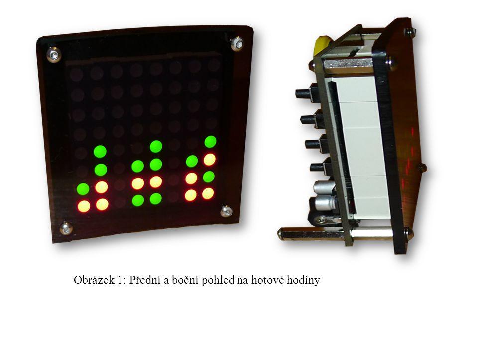 Obrázek 1: Přední a boční pohled na hotové hodiny
