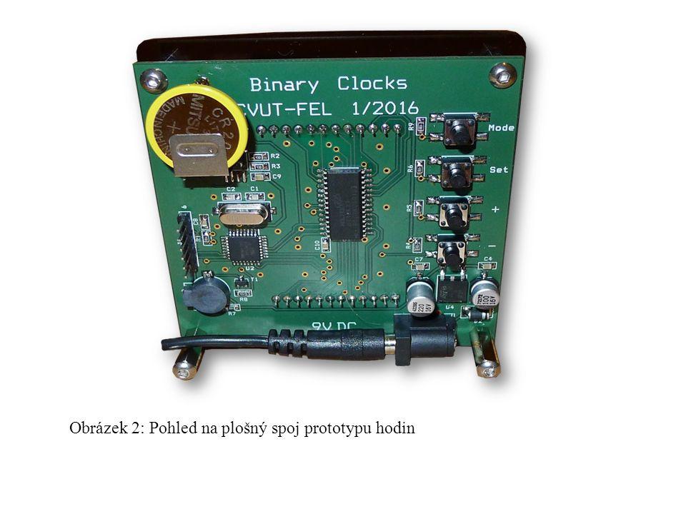 Obrázek 2: Pohled na plošný spoj prototypu hodin