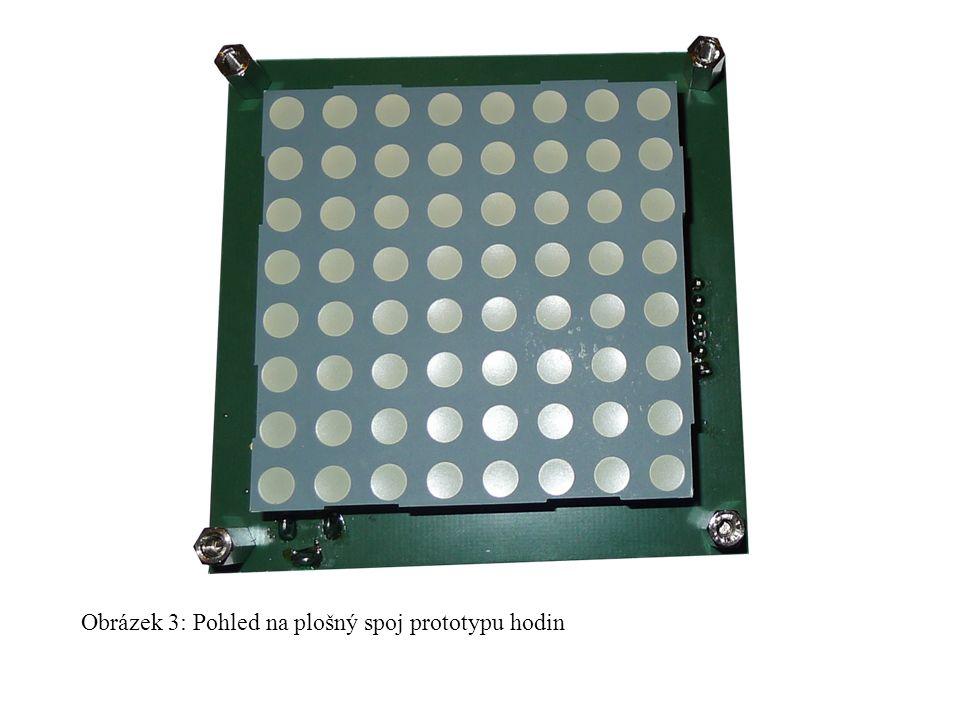 Obrázek 3: Pohled na plošný spoj prototypu hodin