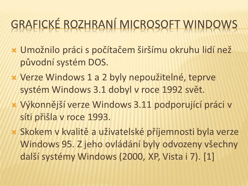  Umožnilo práci s počítačem širšímu okruhu lidí než původní systém DOS.  Verze Windows 1 a 2 byly nepoužitelné, teprve systém Windows 3.1 dobyl v ro