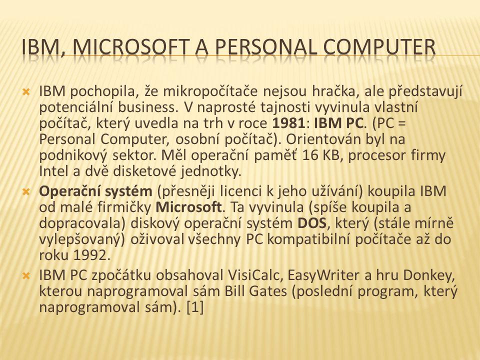 IBM pochopila, že mikropočítače nejsou hračka, ale představují potenciální business. V naprosté tajnosti vyvinula vlastní počítač, který uvedla na t
