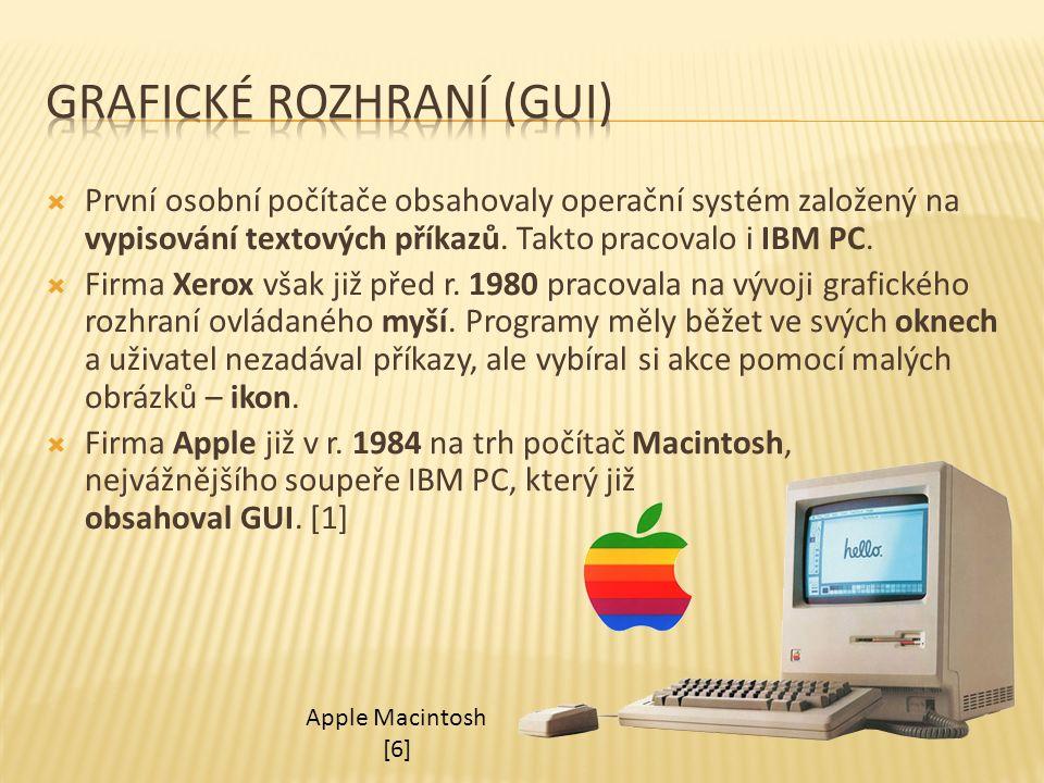  První osobní počítače obsahovaly operační systém založený na vypisování textových příkazů. Takto pracovalo i IBM PC.  Firma Xerox však již před r.
