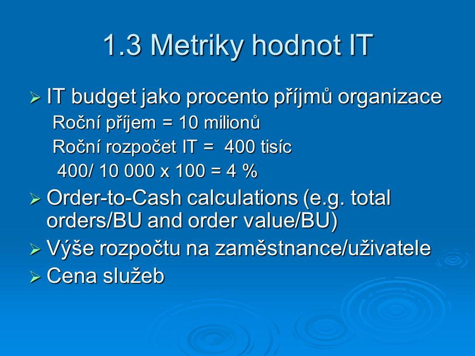 1.3 Metriky hodnot IT  IT budget jako procento příjmů organizace Roční příjem = 10 milionů Roční rozpočet IT = 400 tisíc 400/ 10 000 x 100 = 4 % 400/ 10 000 x 100 = 4 %  Order-to-Cash calculations (e.g.