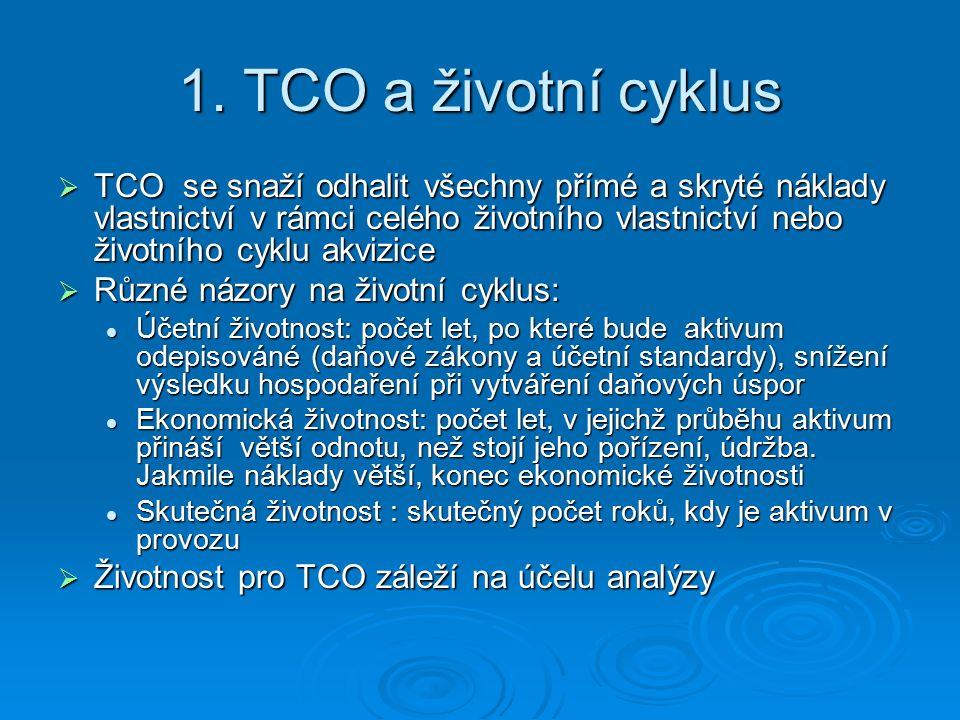1. TCO a životní cyklus  TCO se snaží odhalit všechny přímé a skryté náklady vlastnictví v rámci celého životního vlastnictví nebo životního cyklu ak