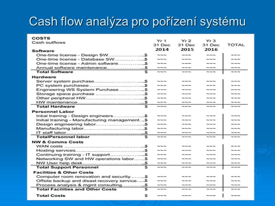 Cash flow analýza pro pořízení systému