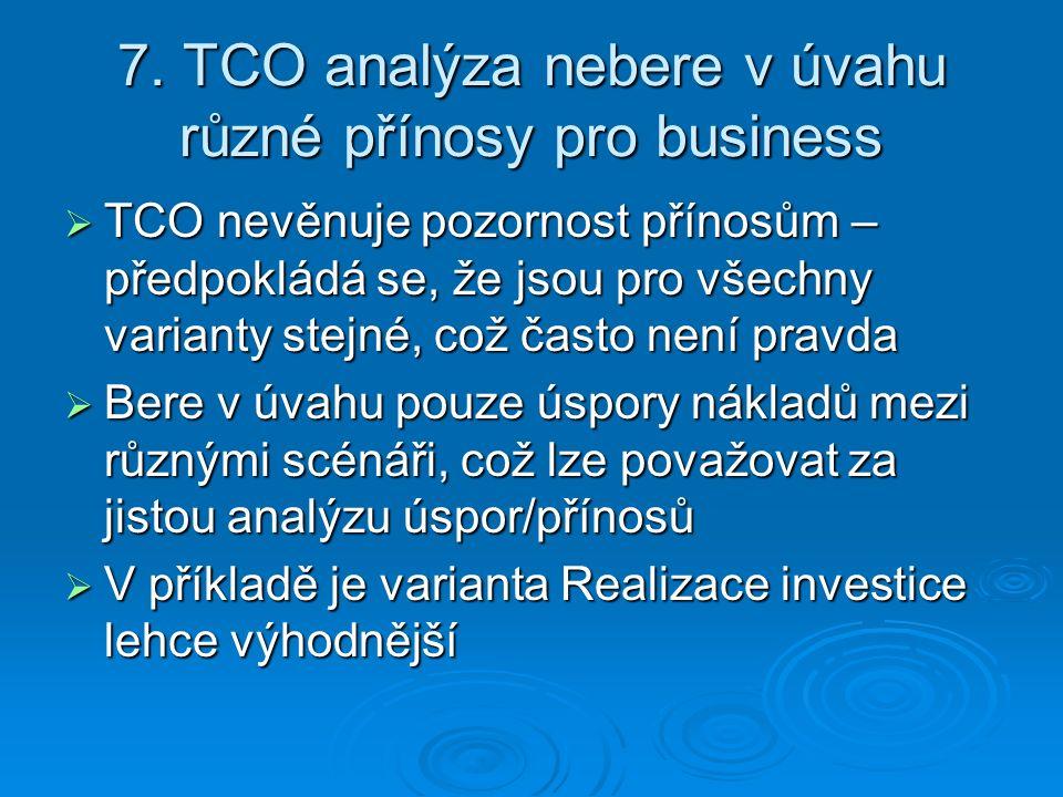 7. TCO analýza nebere v úvahu různé přínosy pro business  TCO nevěnuje pozornost přínosům – předpokládá se, že jsou pro všechny varianty stejné, což