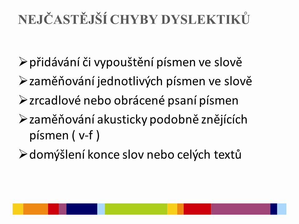 NEJČASTĚJŠÍ CHYBY DYSLEKTIKŮ  přidávání či vypouštění písmen ve slově  zaměňování jednotlivých písmen ve slově  zrcadlové nebo obrácené psaní písmen  zaměňování akusticky podobně znějících písmen ( v-f )  domýšlení konce slov nebo celých textů